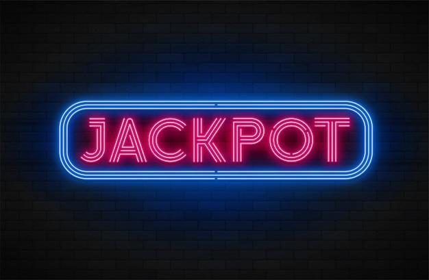 Banner de promoção linear de luz de neon, jackpot, jogo, grande vitória.