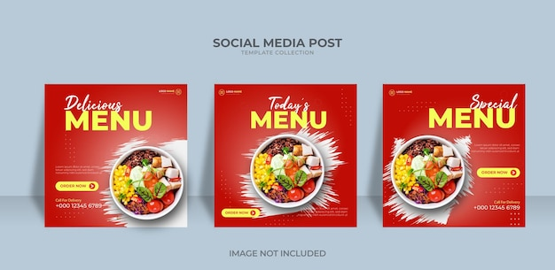 Banner de promoção pós-design modelo de menu de comida