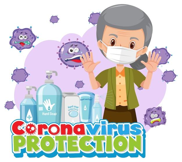 Banner de proteção contra coronavírus com personagem de desenho animado de mulher idosa e desinfetante