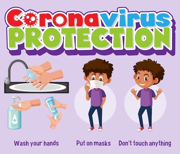 Banner de proteção contra coronavírus com prevenção covid-19