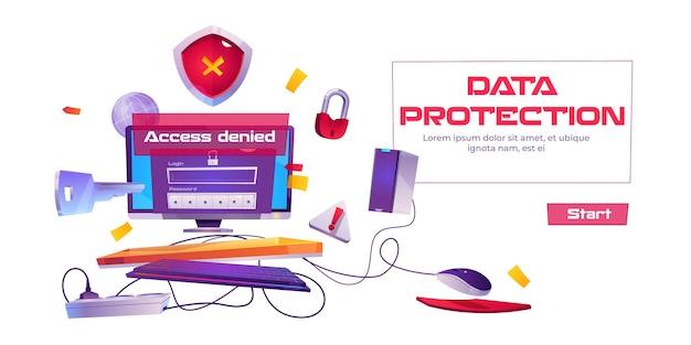 Banner de proteção de dados com computador e notificação de acesso negado.