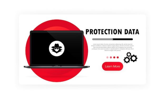 Banner de proteção de dados. trabalho seguro no laptop. sistema de segurança. proteção de privacidade. vetor em fundo branco isolado. eps 10.