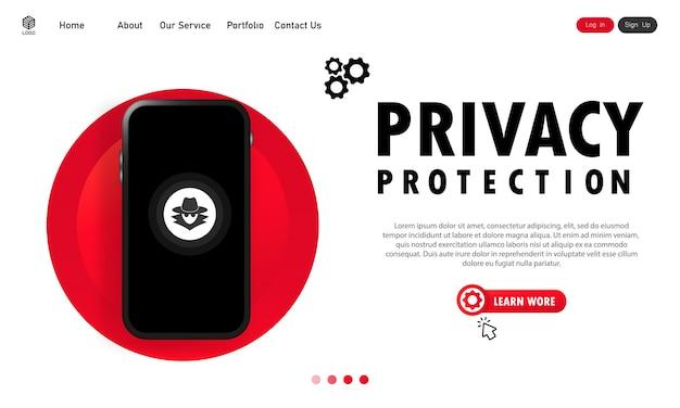 Banner de proteção de privacidade do smartphone. sistema seguro. dados pessoais confidenciais. vetor em fundo branco isolado. eps 10.