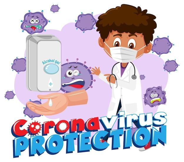 Banner de proteção do coronavirus com o personagem de desenho animado de um médico