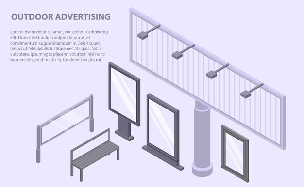Banner de publicidade ao ar livre, estilo isométrico