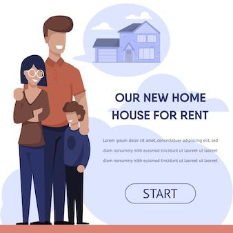 Banner de publicidade com casa de família feliz alugada