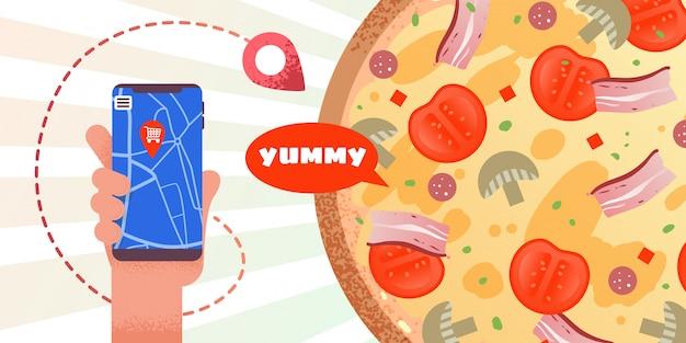 Banner de publicidade com pedido de pizza on-line app