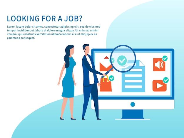 Banner de publicidade com título à procura de emprego