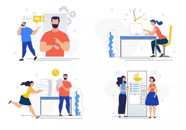 Banner de publicidade conjunto cartoon situações de trabalho.