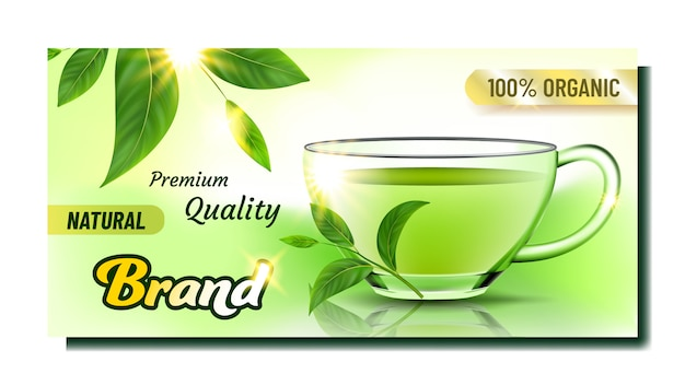 Banner de publicidade criativa de chá natural