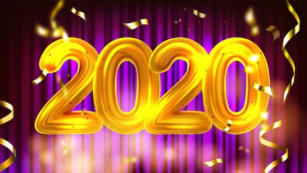 Banner de publicidade de festa de ano novo de 2020