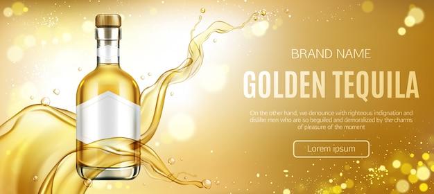 Banner de publicidade de garrafa de tequila dourada