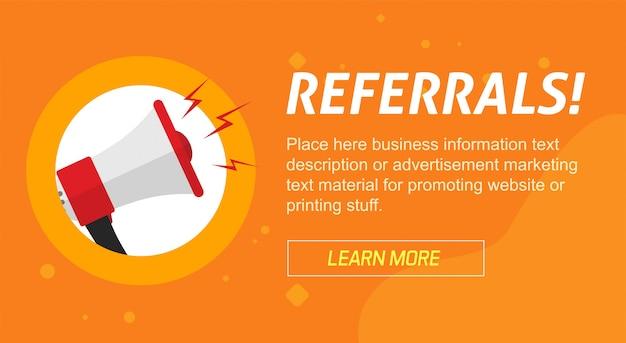 Banner de publicidade de marketing do programa de afiliados de referência