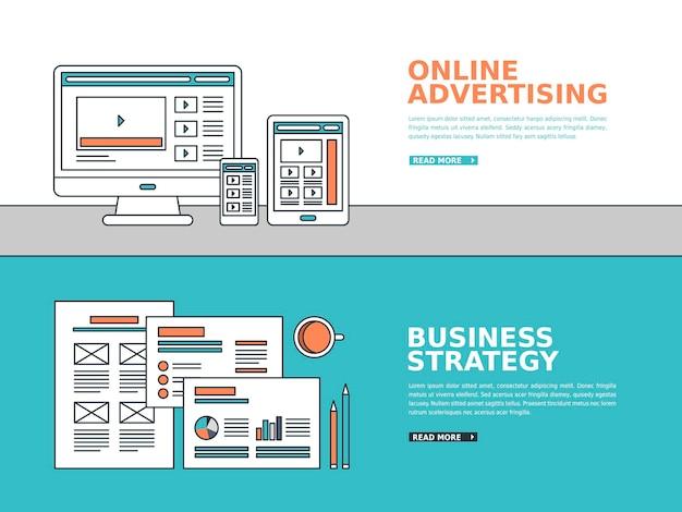 Banner de publicidade de negócios em estilo de linha fina
