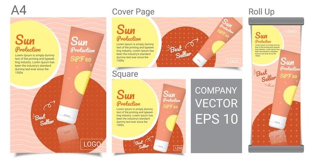Banner de publicidade de produto de tubo de proteção solar
