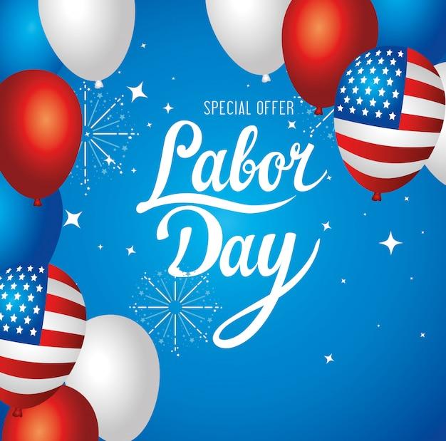 Banner de publicidade de promoção de venda de dia do trabalho, com decoração de hélio de balões