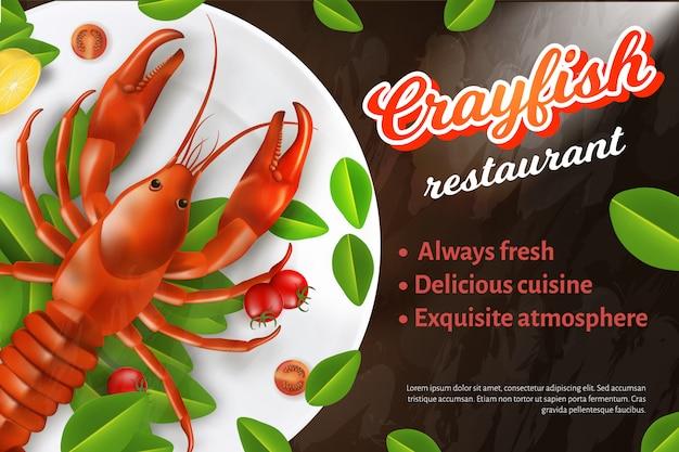Banner de publicidade de restaurante de frutos do mar, lagostins