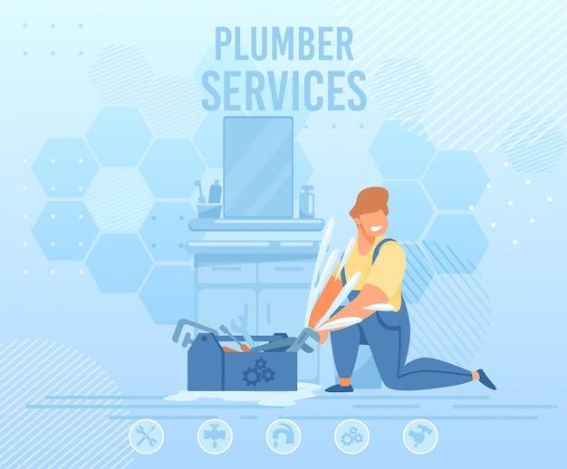 Banner de publicidade de serviço de encanamento profissional