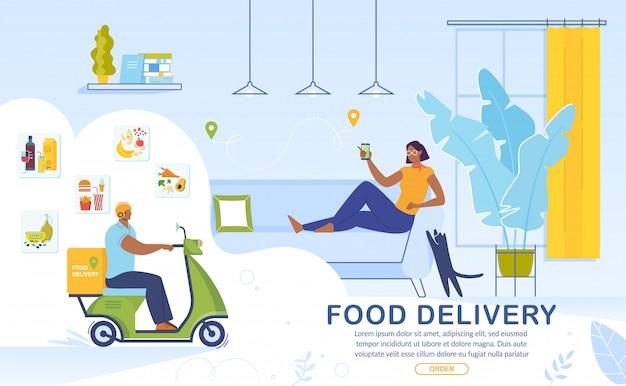 Banner de publicidade de serviço on-line de entrega de comida