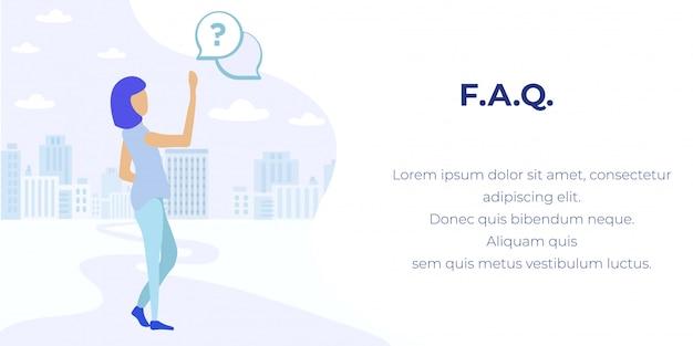 Banner de publicidade de suporte on-line de serviço de faq