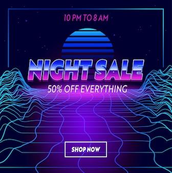 Banner de publicidade de venda à noite com tipografia em fundo futurista de grade de néon synthwave. design de modelo de marca para desconto de compras. decoração de conteúdo de mídia social, promoção. ilustração vetorial