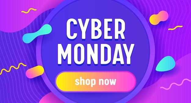 Banner de publicidade de venda de cyber segunda-feira com tipografia.