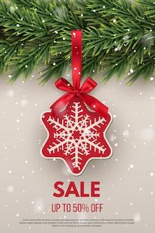 Banner de publicidade de venda de natal e ano novo folheto de convite com galho de árvore do abeto e estrela vermelha