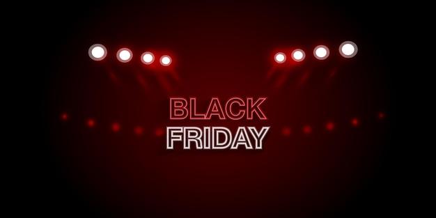 Banner de publicidade de venda de sexta-feira negra com holofotes e luz realista.