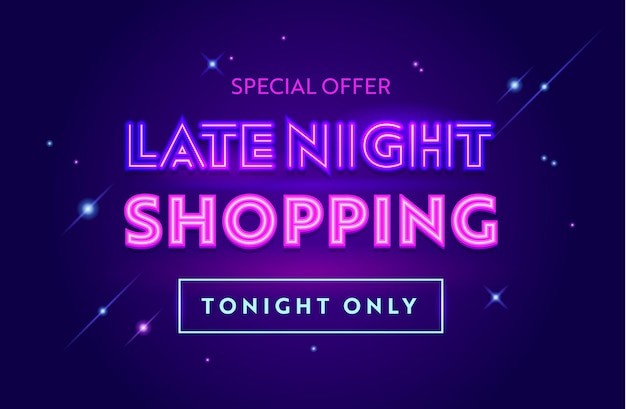 Banner de publicidade de venda tarde da noite com tipografia. fundo azul com estrelas brilhantes. design para desconto em compras