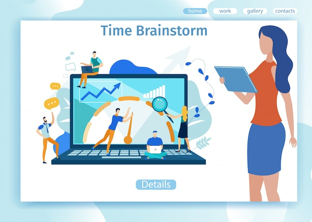 Banner de publicidade é escrito brainstorm de tempo.