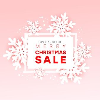 Banner de publicidade horizontal de venda de natal com flocos de neve de papel cortado com semi-moldura branca