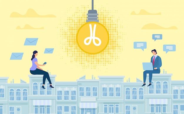 Banner de publicidade online idéia colaborativa.