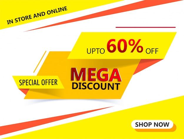 Banner de publicidade ou design de cartaz com oferta de 60% de desconto para
