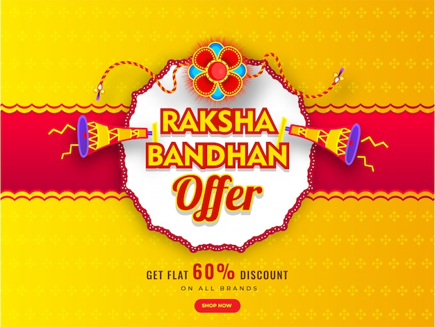 Banner de publicidade ou design de cartaz com rakhi decorativo (pulseira), alto-falante e oferta de desconto de 60% para venda de raksha bandhan.