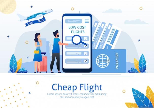 Banner de publicidade plana de voos baratos