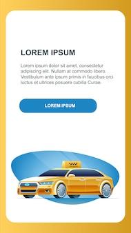 Banner de publicidade vertical de carro de táxi de condução auto.