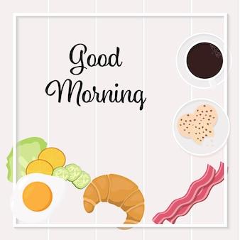 Banner de quadrados de vista superior de objetos de café da manhã para mídias sociais