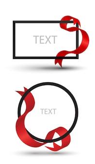 Banner de quadro com fita vermelha