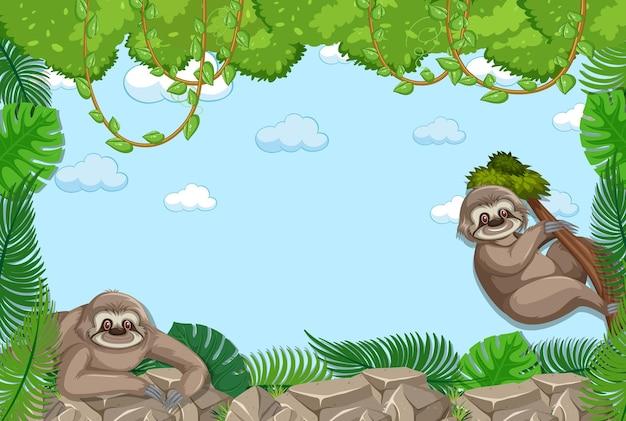 Banner de quadro de folhas tropicais vazias com personagem de desenho animado de preguiça