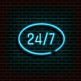 Banner de quadro em forma de uma elipse. abra 24 7 horas de luz de néon na parede de tijolo