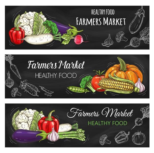 Banner de quadro-negro de esboço de mercado de fazendeiros de legumes