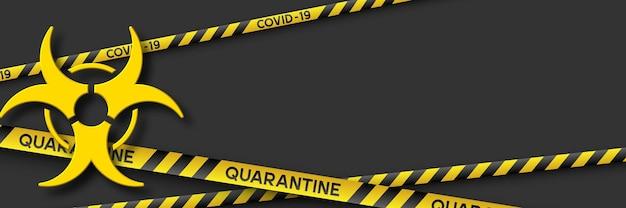 Banner de quarentena de aviso de coronavírus com listras amarelas e pretas e símbolo de infecção 3d. vírus covid-19. fundo preto com espaço de cópia. sinal de risco biológico de quarentena. vetor.