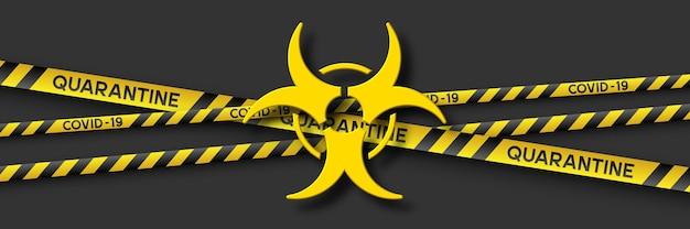 Banner de quarentena de aviso de coronavírus com listras amarelas e pretas e símbolo de infecção 3d. vírus covid-19. fundo preto. sinal de risco biológico de quarentena. vetor.