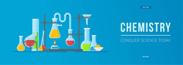 Banner de química. ilustração de um experimento em um laboratório.