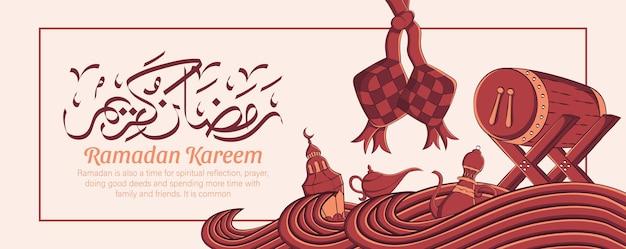 Banner de ramadan kareem com ornamento de ilustração islâmica desenhada à mão