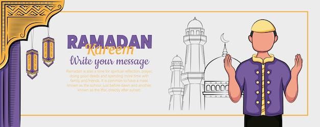 Banner de ramadan kareem com ornamento islâmico desenhado à mão