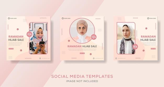 Banner de ramadan kareem hijab para publicação de modelo de venda de moda