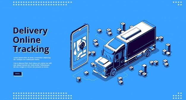 Banner de rastreamento on-line de entrega com caminhão