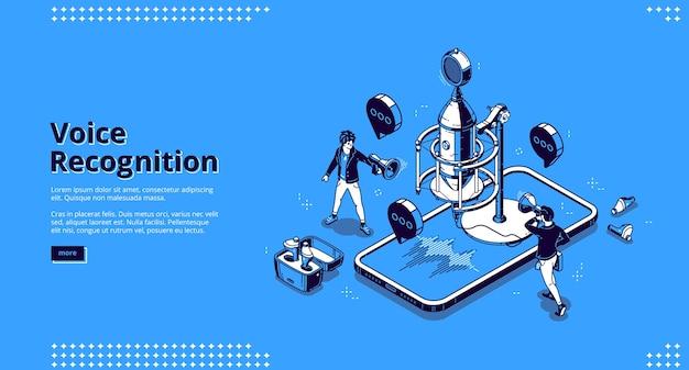Banner de reconhecimento de voz. tecnologias de ia para gravar som, ditar mensagens e voz. página de destino com ilustração isométrica de microfone, smartphone com ondas sonoras e pessoas