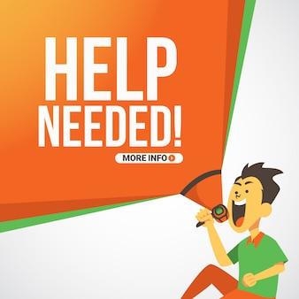 Banner de recrutamento de emprego com homem gritando ajuda necessária